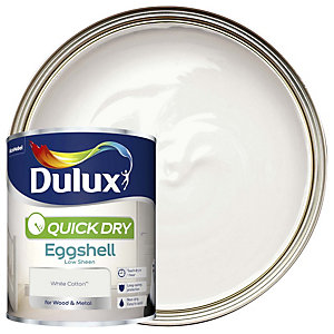 Dulux Quick Dry Eggshell White Cotton Paint 750ml