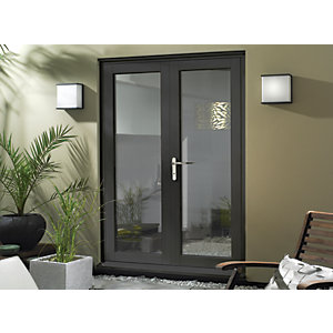 Wickes Burman Slimline Grey French Door - 1490mm