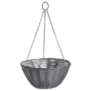 Gardman 14in Rattan Dark Grey Hanging Basket
