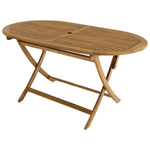 Charles Bentley FSC Acacia Wooden Oval Folding Dining Table