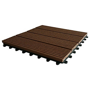 Eva-Tech Composite Brown Grooved Deck Tile 300 x 300mm Pk 4