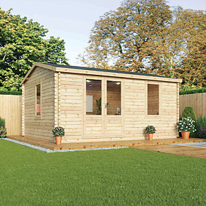 Mercia 5m x 4m 34mm Log Thickness Single Glazed Home Office