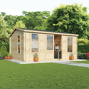 Mercia 5m x 4m 28mm Log Thickness Single Glazed Home Office with Assembly