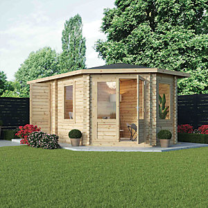 Mercia 5m x 3m 28mm Log Thickness Corner Right Sided Log Cabin