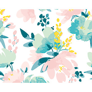 ohpopsi Delicate Watercolour Flowers Wall Mural