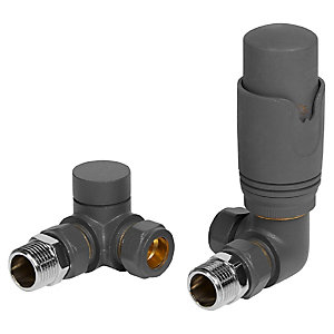 Towelrads Anthracite Corner Lockshield Radiator Valve