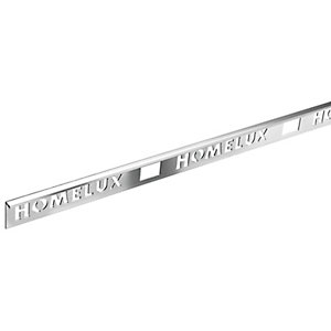 Homelux 6mm Metal Straight Silver Tile trim 2.44m
