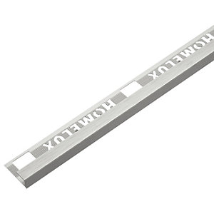 Homelux 8mm Metal Straight Stainless Steel Tile Trim 2.44m