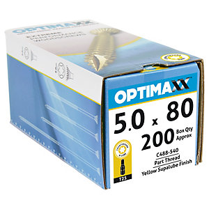 Optimaxx Tx Countersunk Zinc & Yellow Passivated Woodscrew - 5 X 80mm Pack Of 200