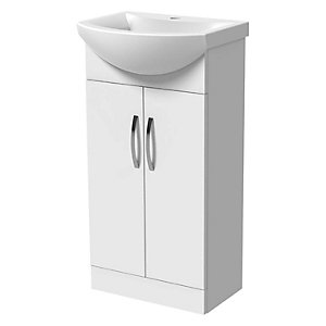 Wickes White Gloss Compact Vanity Unit & Basin - 840 x 450mm