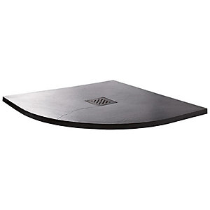 Wickes 35mm Black Textured Quadrant Shower Tray - 900mm