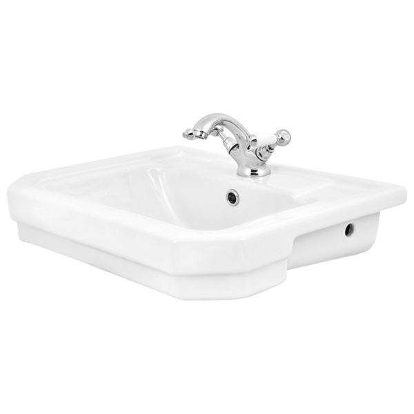 Wickes Oxford Traditional 1 Tap Hole Semi Recessed Bathroom Basin - 550mm