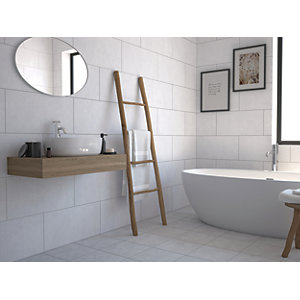 Wickes York White Ceramic Wall & Floor Tile 600 x 300mm