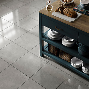Wickes Rockford Grey Lappato Glazed Porcelain Wall & Floor Tile 445 x 445mm