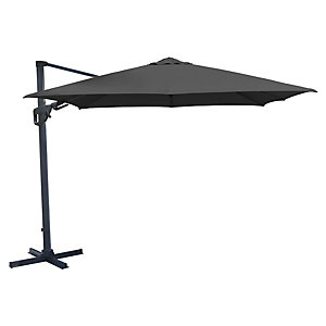 Charles Bentley Premium Cantilever Parasol With Crank & Tilt Grey 3.5M