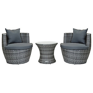Charles Bentley 3PC Stacking Rattan Furniture Set Grey