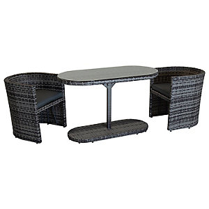 Charles Bentley St Tropez Rattan Chat Set Grey
