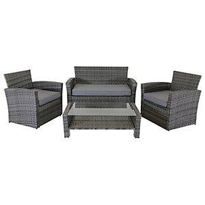 Charles Bentley 4 Seater Rattan Furniture Set In Grey