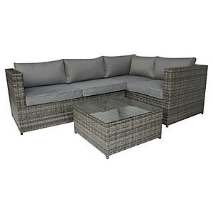 Charles Bentley Rattan Corner Sofa & Coffee Table Grey