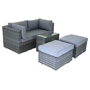 Charles Bentley Multifunctional Contemporary Lounge Set Grey