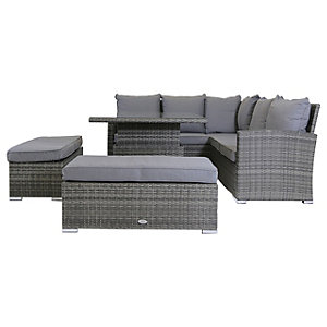 Charles Bentley Corner Lounge Set With Adjustable Height Table Grey