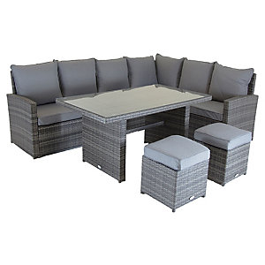Charles Bentley 6 Seater Multifunctional Casual Dining Set Grey