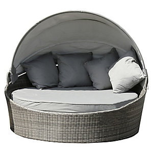 Charles Bentley Rattan Day Bed With Canopy Grey