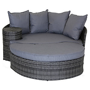 Charles Bentley Rattan Day Bed With Foot Stool & Table Grey