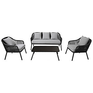 Charles Bentley 4 Seater Rope And Metal Lounge Set