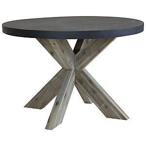 Fibre Cement & Acacia Wood Round Dining Table