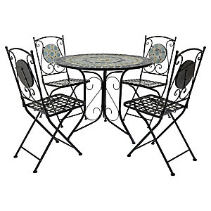 Charles Bentley Blue Mosaic 4 Seater Dining Set