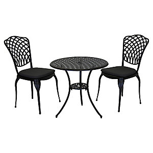 Charles Bentley Cast Aluminium Bistro Set Grey