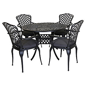 Charles Bentley Cast Aluminium 4 Seater Dining Set Grey