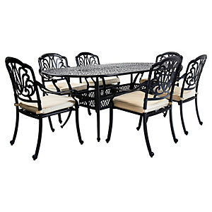 Charles Bentley 6 Seater Oval Cast Aluminium Dining Set Black