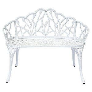 Charles Bentley 2 Seater Cast Aluminium Tulip Bench White