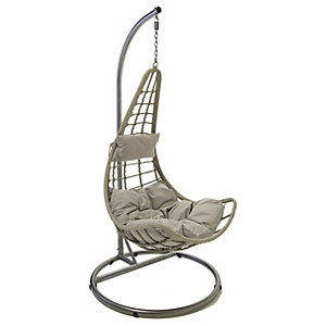 Charles Bentley Rattan Garden Swing Chair Grey