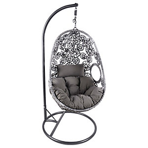 Charles Bentley Rattan Floral Swing Chair Grey