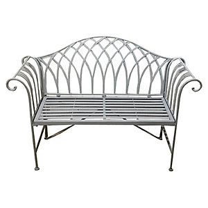 Wrought Iron Bench Grey