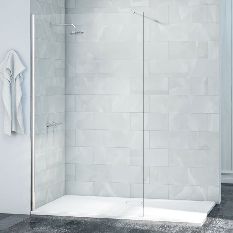 8mm Frameless Single Fixed Wet Room Shower Screen