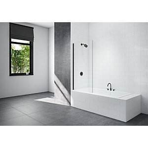 Nexa By Merlyn 8mm Fixed Square Panel Frameless Black Bath Screen - 1500 x 800mm