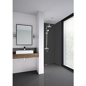 Mermaid Composite Brushed Black Horizontal Tile Single Shower Panel 2440 X 1220mm