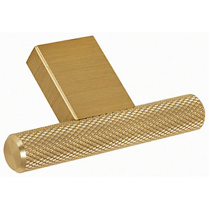 Image of Wickes Dalston Textured T Knob Handle - Brass 60mm