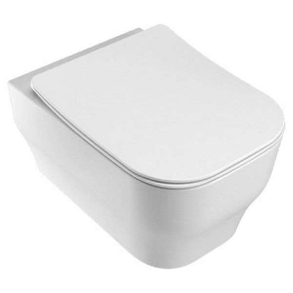 Wickes Siena Easy Clean Wall Hung Toilet Pan & Soft Close Slim Sandwich Seat - 360mm