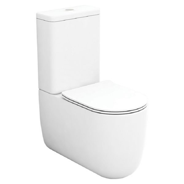 Wickes Teramo Easy Clean Close Coupled Toilet Pan & Soft Close Slim Sandwich Seat - 360mm