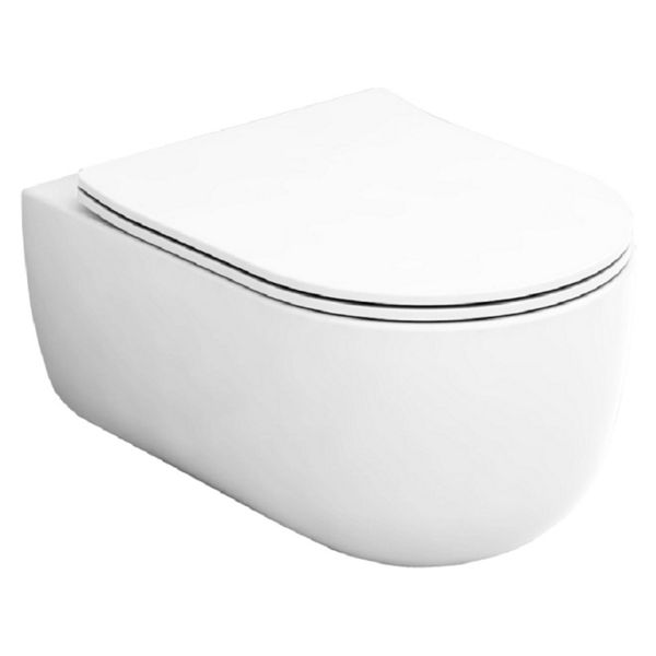 Wickes Teramo Easy Clean Wall Hung Toilet Pan & Soft Close Slim Seat