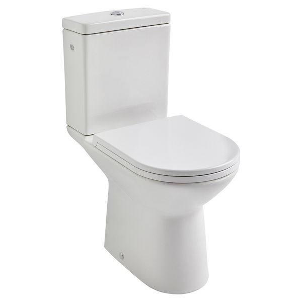 Roca Aris Close Coupled Open Back Easy Clean Toilet Pan, Cistern & Soft Close Seat