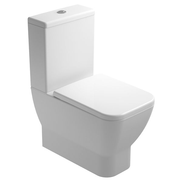 Wickes Emma Cloakroom Easy Clean Close Coupled Toilet Pan, Cistern & Soft Close Seat