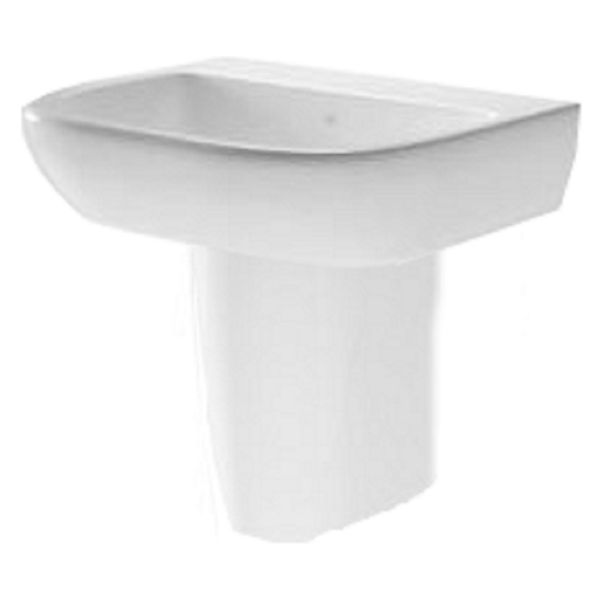 Wickes Galeria Ceramic 1 Tap Hole Basin with Semi Bathroom Pedestal - 550mm