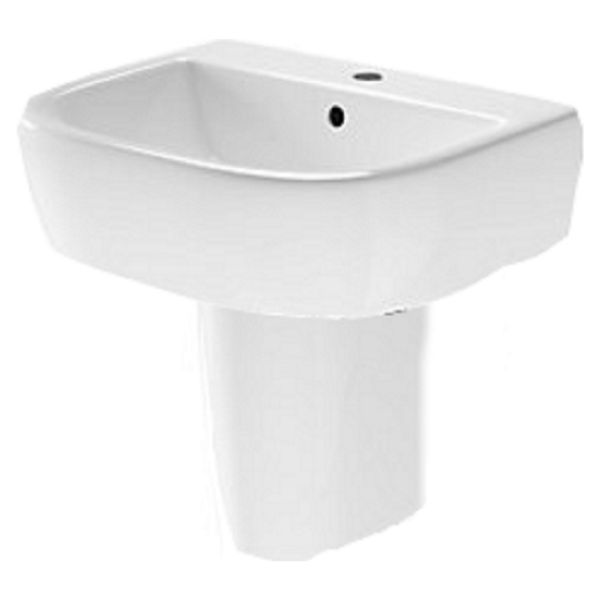 Wickes Galeria Ceramic 1 Tap Hole Cloakroom Basin with Semi Bathroom Pedestal - 450mm