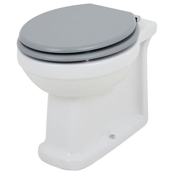 Wickes Oxford Traditional Back To Wall Toilet Pan & Grey Soft Close Seat